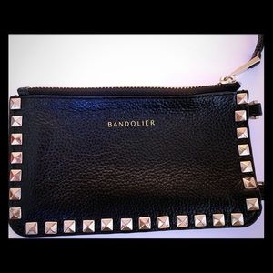 Bandolier Pyramid Stud Pebble Leather ZIP Pouch